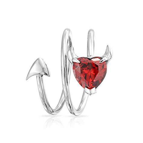 January Birthstone Garnet Color CZ Devil Heart Ring Spiral