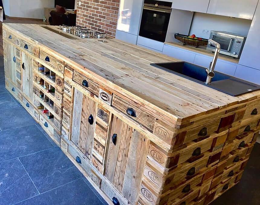 Wooden Pallets Repurposed Kitchen Island Wood Pallet Furniture