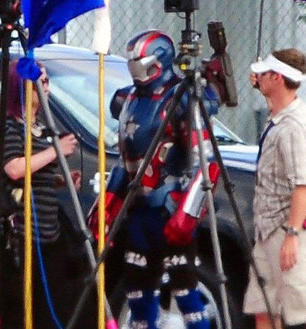 James Badge Dale, as the Iron Patriot, on the set of IRON MAN 3.