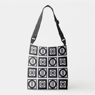 All-Over-Print Black and White Equal Sign Pattern Tote Bag