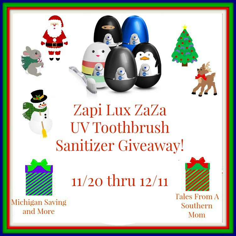 Enter the VioLife Zapi Lux UV Toothbrush Sanitizer Giveaway. Ends 12/11