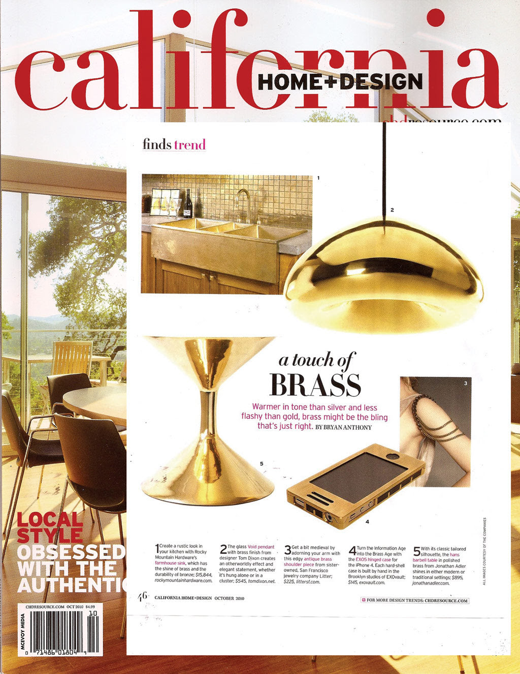 Brass Shoulder Piece In California Home Design Magazine October
