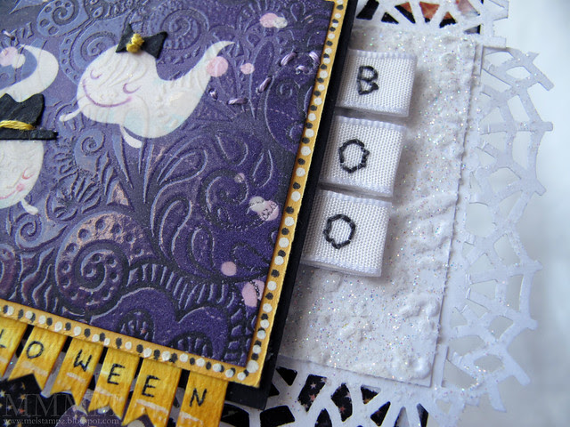 Wrap ribbon over cardstock strip - Pierce  holes in letter shapes & stitch