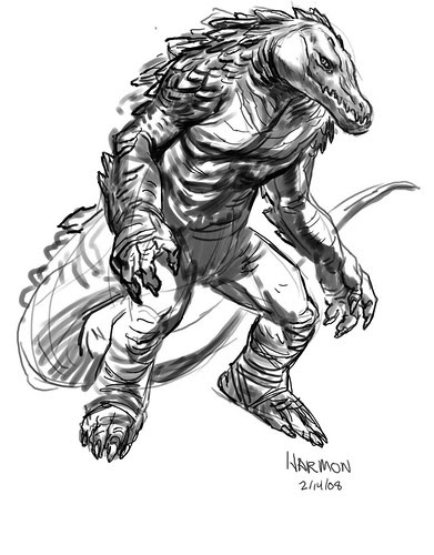 "'Leatherhead' rough - one..by Paul Harmon for the upcoming ""Tales of the TMNT"" v2. #50 [[ Via Steve Murphy ]]"