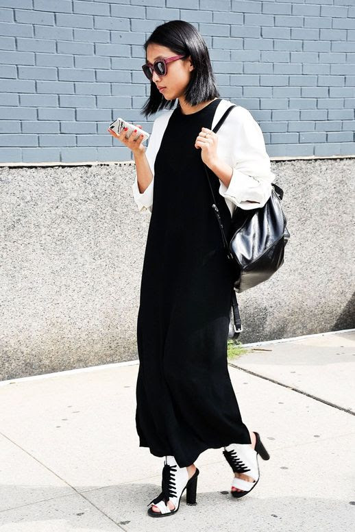 Le Fashion Blog Blogger Street Style Pink Sunglasses Black And White Combo Color Block Maxi Dress Lace Up Heeled Bootie Sandals Leather Backpack Nyfw Via Glamour