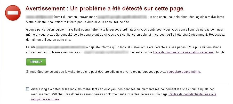 site piraté Un problème a été détecté sur cette page