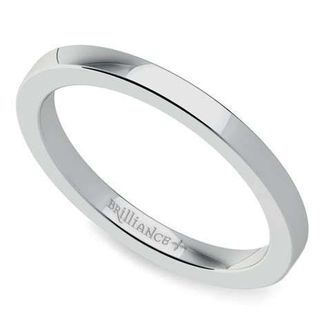 Flat Wedding Ring in White Gold (2mm)