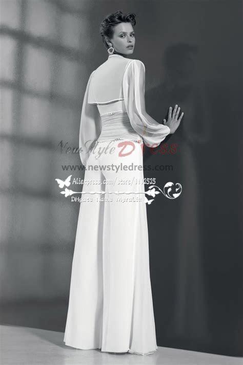 piece chiffon bridal jumpsuit  jacket  beach