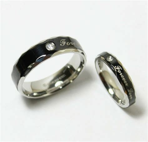 Stainless Steel Black Silver Wedding Band Matching Ring