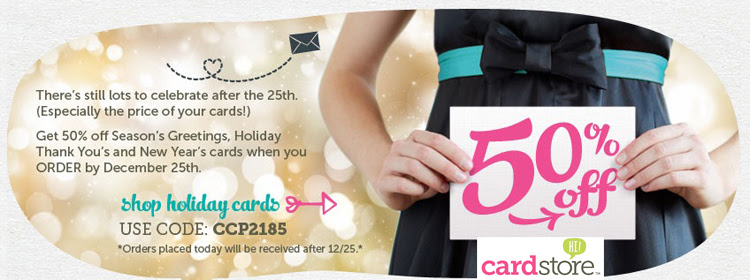 50% off Holiday Cards + Free Shipping, Use Code: CCP2185, Valid through 11:59pm PST 12/25/12. Shop Now!