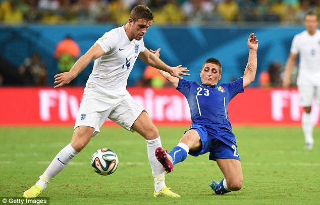Potential: Marco Verratti (right) proved another Andrea Pirlo in the making against England