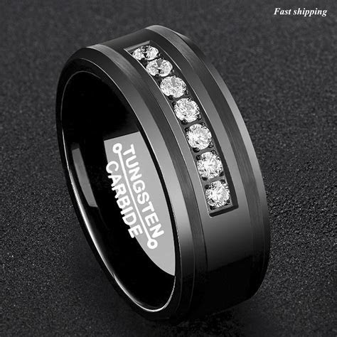 8Mm Black Tungsten Carbide Ring Diamonds Inlay Comfort Fit