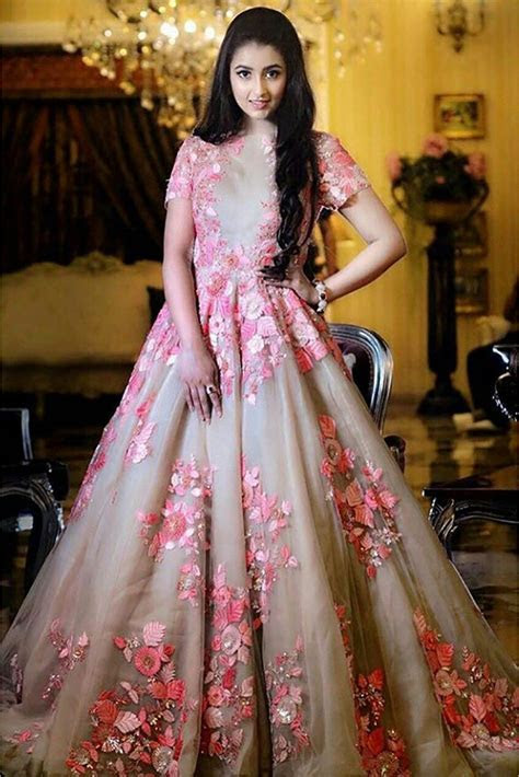 Nylon Net Gown In Cream And Baby Pink Colour   indian