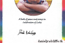 Daniel signs Poetry book for Children's Cancer auction