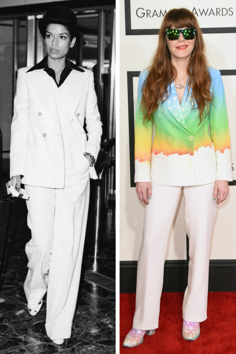 When Bianca Jagger borrowed from the boys in sleek suiting, it was an extraordinary statement. The androgynous look may be more common today, but Jenny Lewis makes it a groovy fashion moment nonetheless.