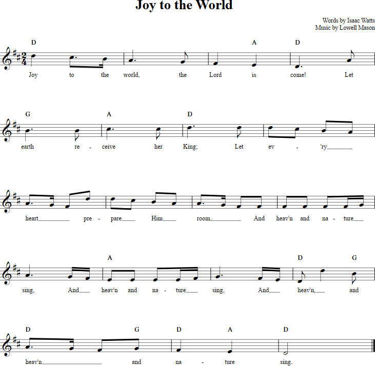 Sheet Music And Lyrics To Joy To The World: Download Christmas Songs Jingle Bells Lyrics