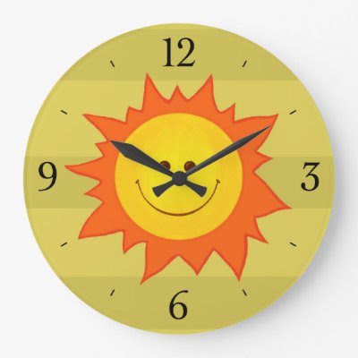Happy Smiling Cartoon Sun Childrens Wallclock
