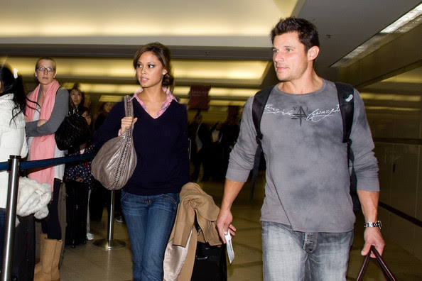 Nick Lachey Nick Lachey and Vanessa Minnillo prepare to depart LAX (Los Angeles International Airport) for the holiday season.