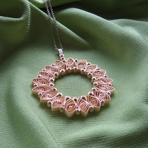 Quilled Rose Gold Paper Necklace And Quilled Nursery Photo