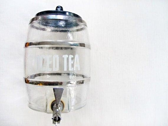 sip & repeat - vintage glass iced tea dispenser. unique jar, drink, retro container, barrel, wedding, picnic