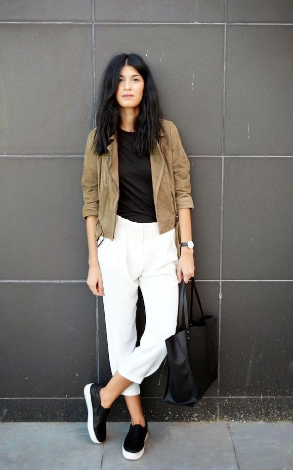 Le Fashion Blog Spring Style Tan Suede Moto Jacket Round Watch Cropped White Pants Black Slip On Sneakers Via The Blossom Girls photo Le-Fashion-Blog-Spring-Style-Tan-Suede-Moto-Jacket-Round-Watch-Cropped-White-Pants-Black-Slip-On-Sneakers-Via-The-Blossom-Girls.jpg