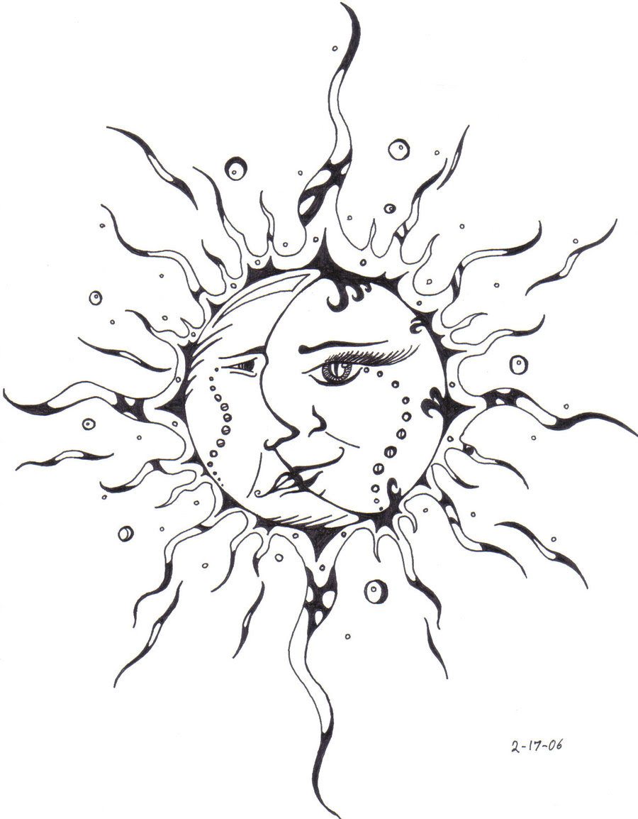 Celestial Sun And Moon Drawing At Getdrawingscom Free For