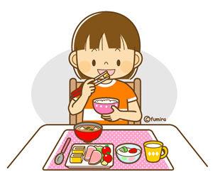 クリップアート女の子の生活イラスト3朝食歯みがき持ち物