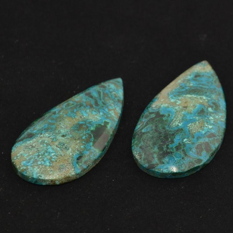 s44140 Stone -  Pear Drop Cabochon - Shattuckite (1)