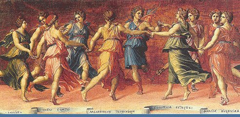The nine Muses dancing with Apollo