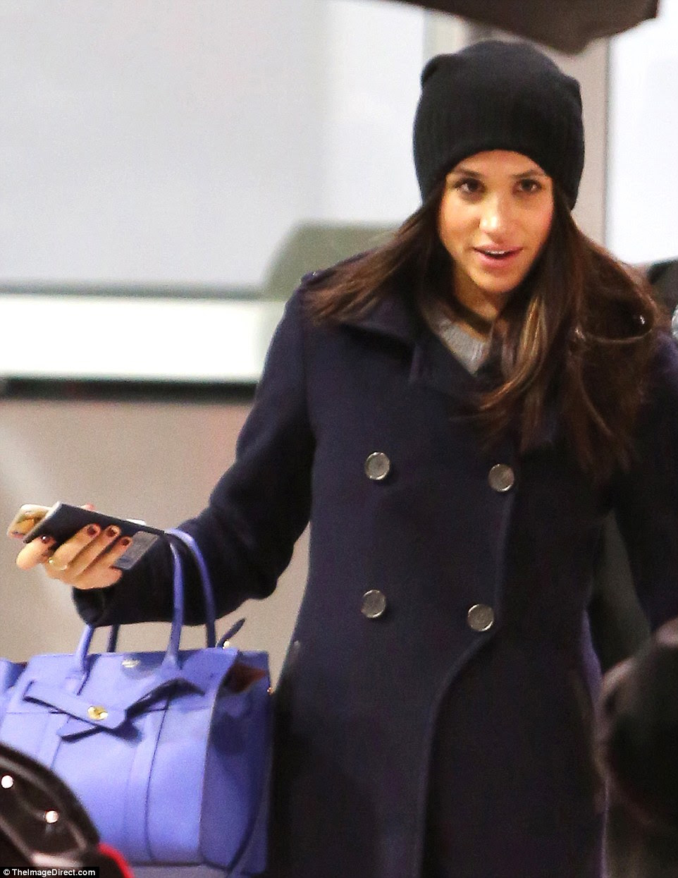 Meghan touched down in Toronto after spending a romantic week in London with boyfriend Harry