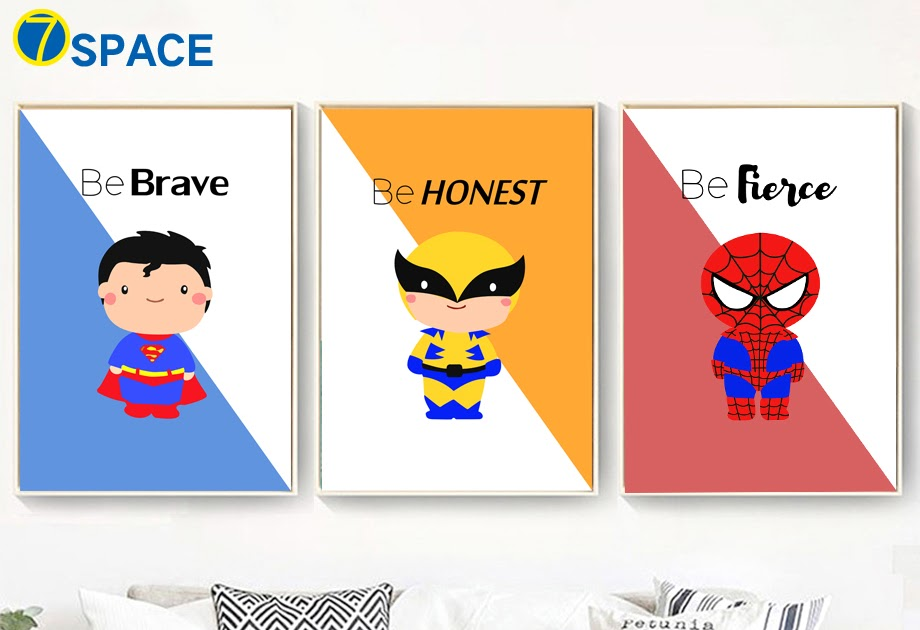 Spider Man Iron Man Inspiring Quotes Wall Art Canvas Painting Posters And Prints Nordic Poster Wall Pictures For Kids Room Decor Home & Garden Painting & Calligraphy