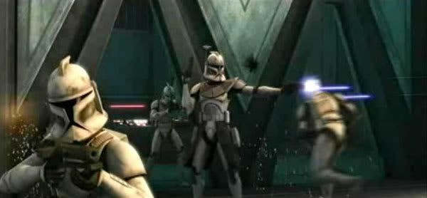 Clonetroopers fire on an unseen enemy (most likely droids) in STAR WARS: THE CLONE WARS.