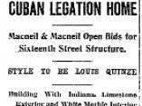 Artículo de The Washington Post, del 19 de noviembre de 1916, en el que se anuncia el contrato con la empresa MacNeil & MacNeil para construir la Legación de Cuba en Washington