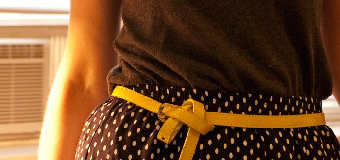yellow pretzel belt polka dots dashdotdotty dash dot dotty summer sandals dinner