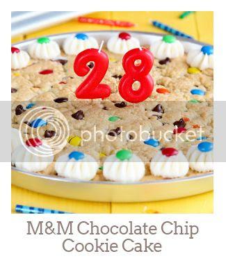 """M&M Chocolate Chip Cookie Cake"""