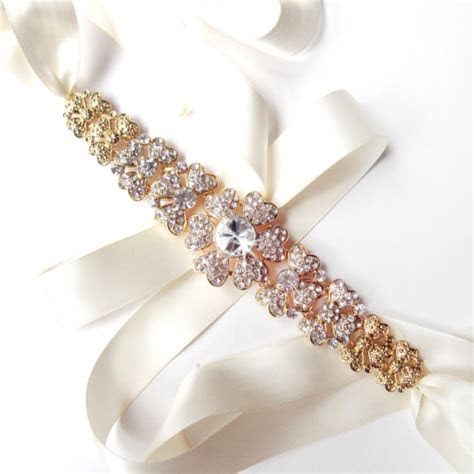 Gold Floral Rhinestone Encrusted Bridal Belt Sash   White