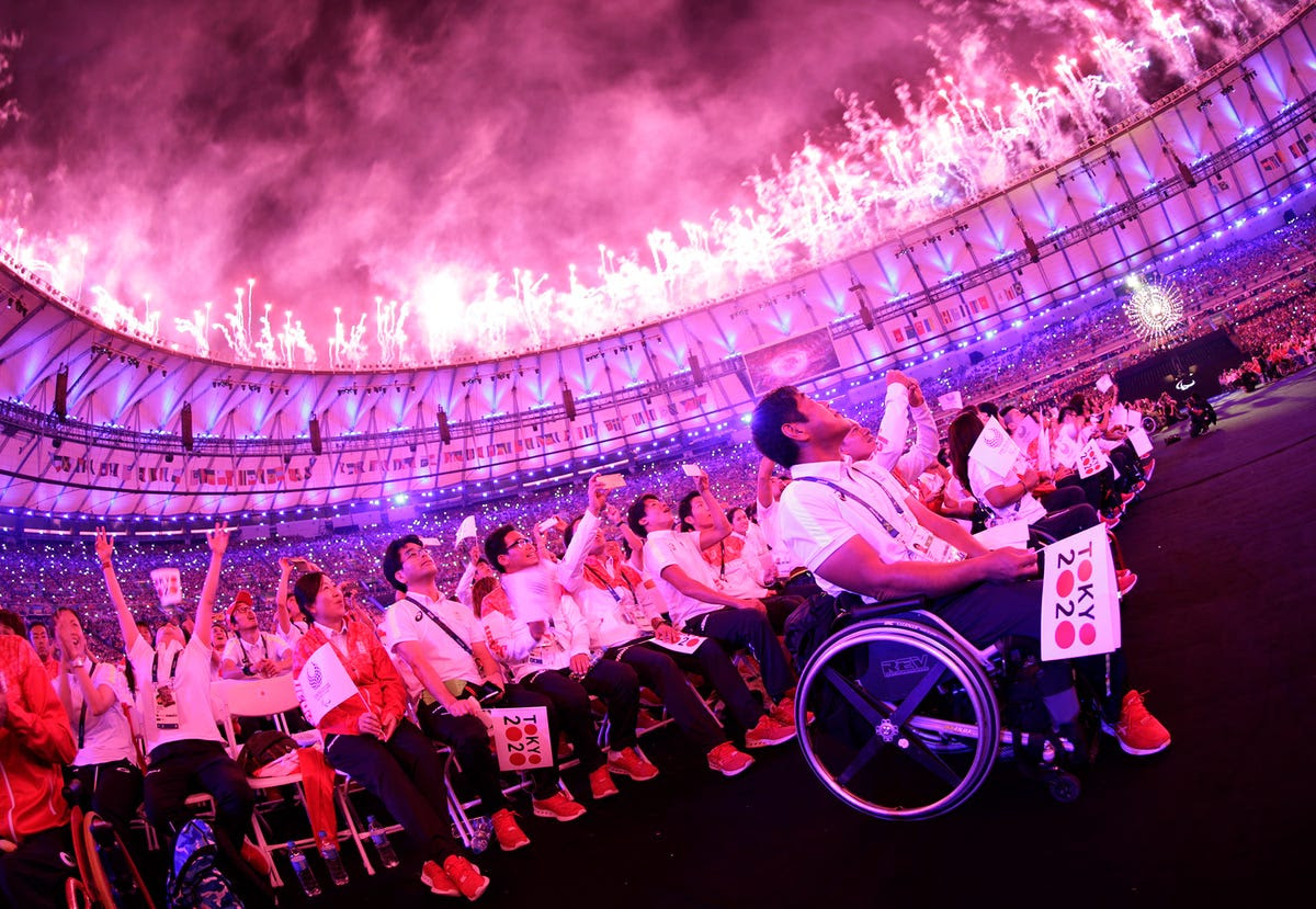 The Paralympians pass the torch for the 2020 Tokyo Paralympics.
