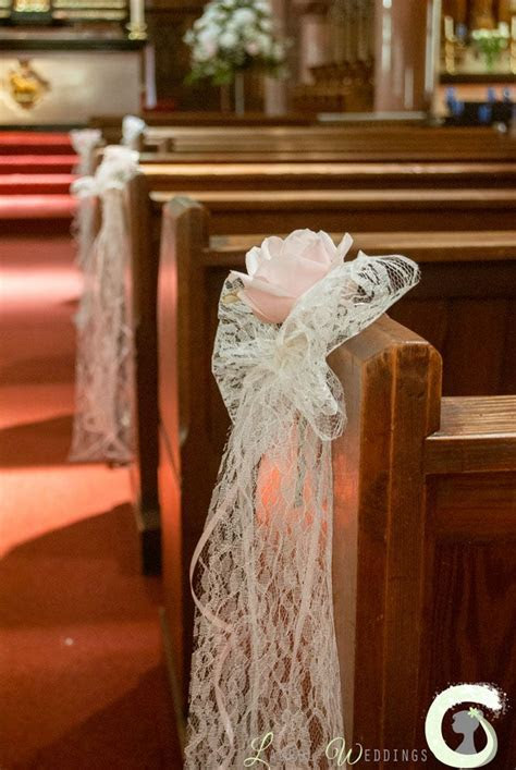 Wedding aisle decorations   lace bow pew ends with single