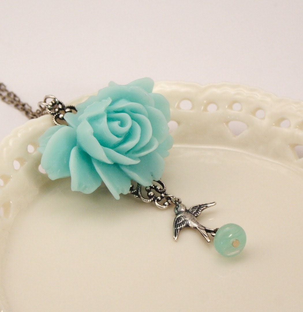 Collette Aqua Rose Necklace