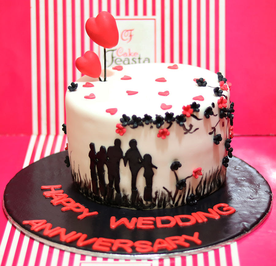 Little Hearts Anniversary Cake Fondant Cakes In Lahore Free Delivery