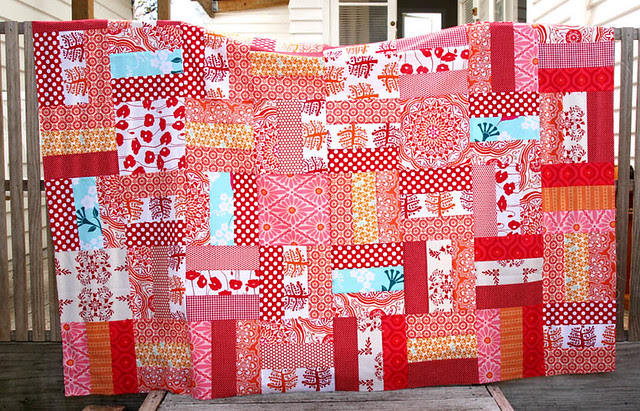 Red quilt top