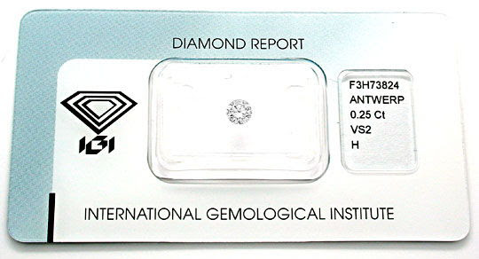 Foto 1, 1A-Diamant, IGI!!, Brillant 0,25ct Wesselton-H VS2 Shop, D5499