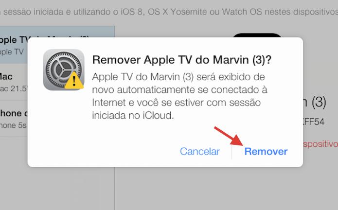 Confirmando a remoção de um dispositivo conectado a uma conta do iCloud pela web (Foto: Reprodução/Marvin Costa)