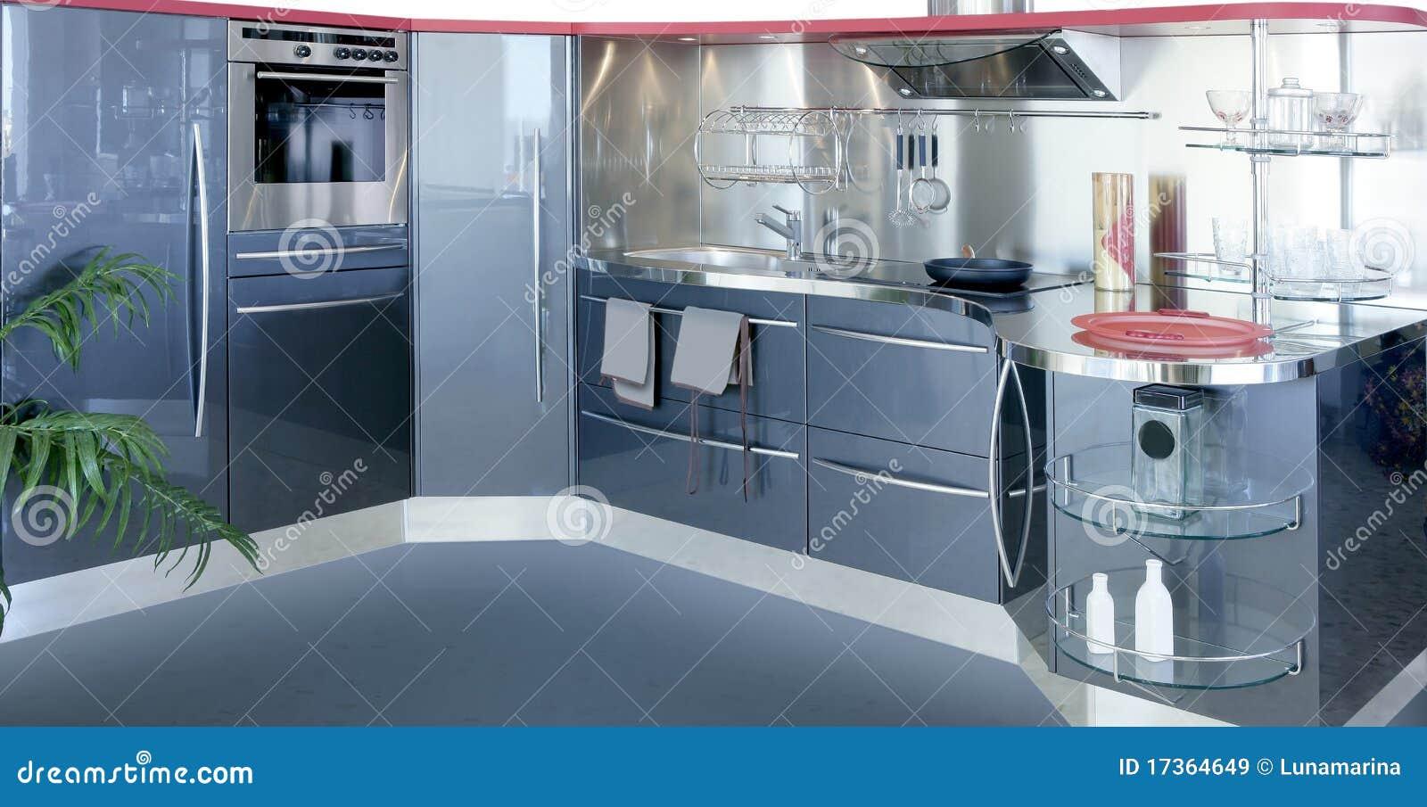 Gray Silver Kitchenw Modern Interior Design House Royalty Free ...