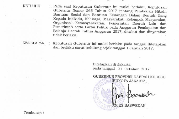 Keputusan gubernur mengenai kenaikan dana parpol yang ada di dalam pos Bakesbangpol DKI Jakarta pada APBD DKI Jakarta 2018