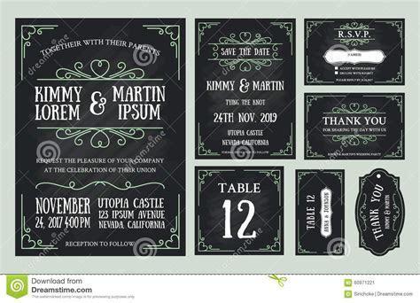 Vintage Wedding Invitation Chalkboard Design Sets Stock
