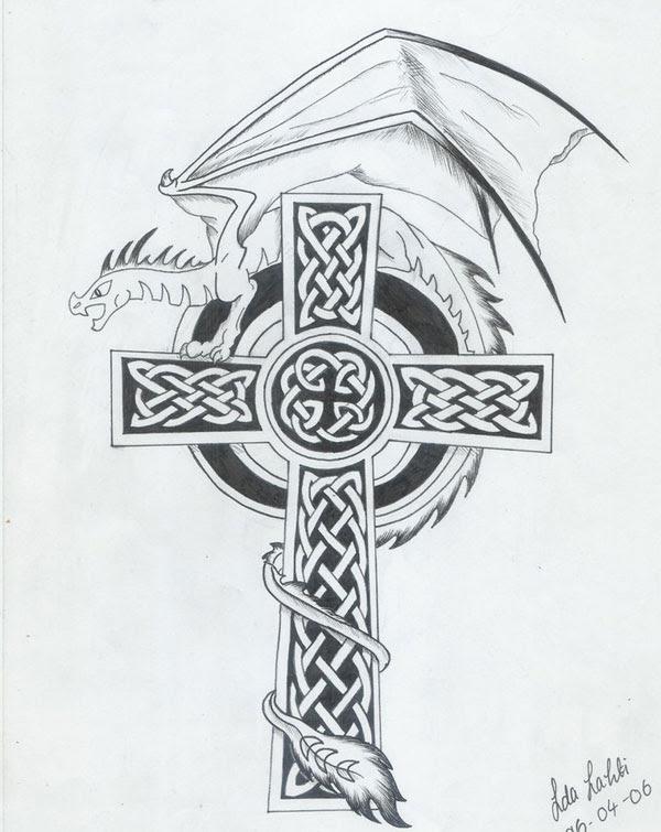 Dragon And Celtic Cross Tattoo Design