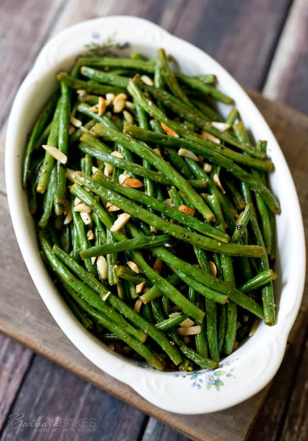 Roasted Green Beans with Almonds | Barbara Bakes