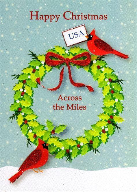 Happy Christmas USA Across The Miles Xmas Card   Cards
