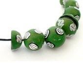 Necklace polymer clay Green, green game necklace, polymer clay necklace, green beads necklace